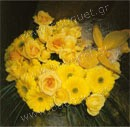 Bouquet of yellow gerberas, roses and a butterfly
