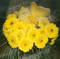 Bouquet of yellow gerberas with a butterfly